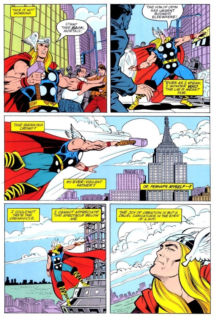 Thor flies into the air and then broods about his creamsicle.