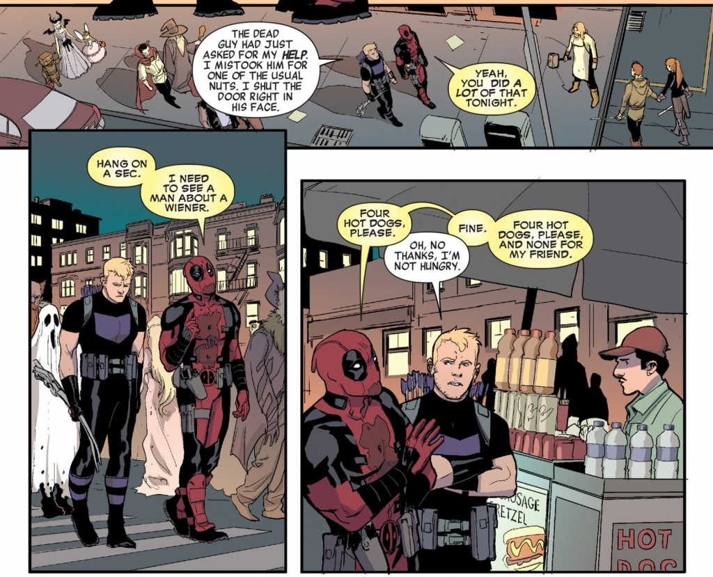 Deadpool ordering hot dogs with Hawkeye.