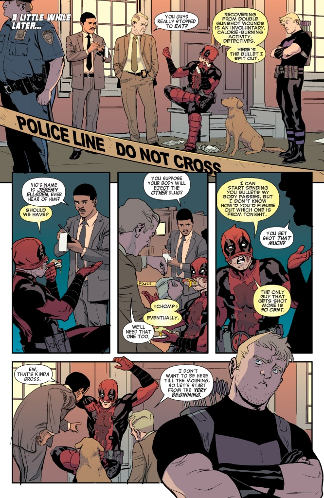 Deadpool eating hotdogs while getting questioned by police.