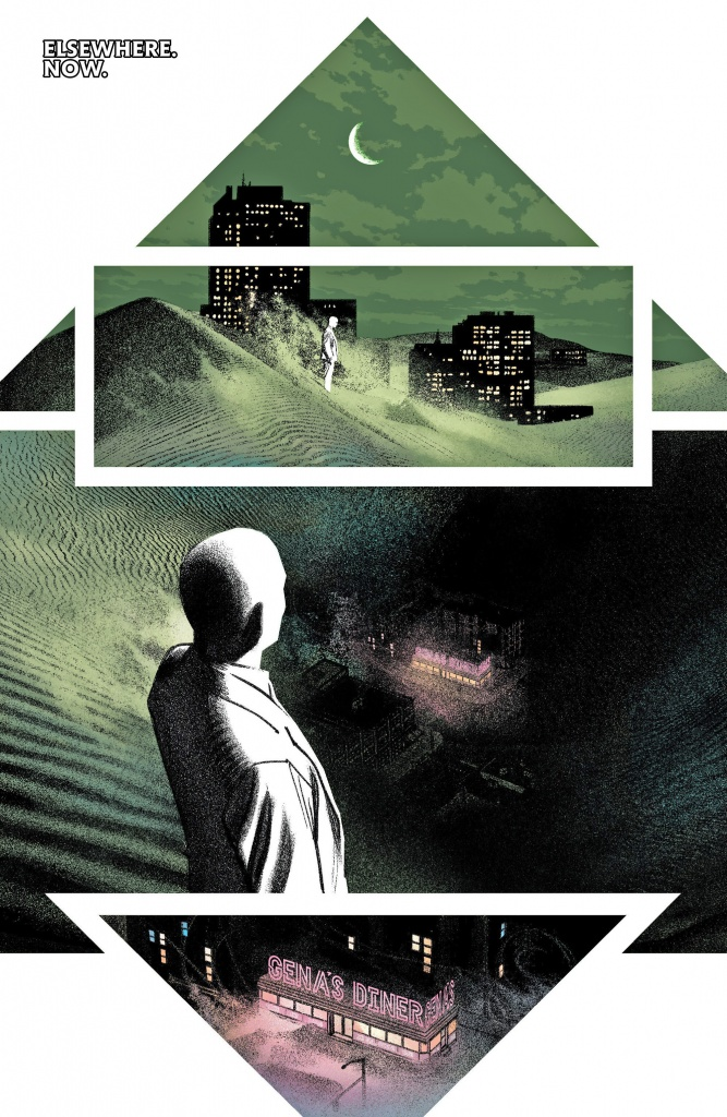 Moon Knight looking down at Gina's Diner from on high