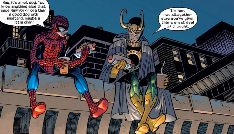 Spider-Man & Loki eating hotdogs on a rooftop